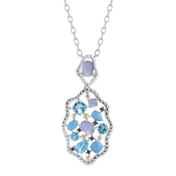 Sterling Silver & 14K Yellow Gold with Precious and Semi-Precious Stones Necklace