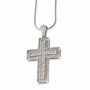 SS Rhodium-Plated CZ Brilliant Embers Polished Cross Necklace