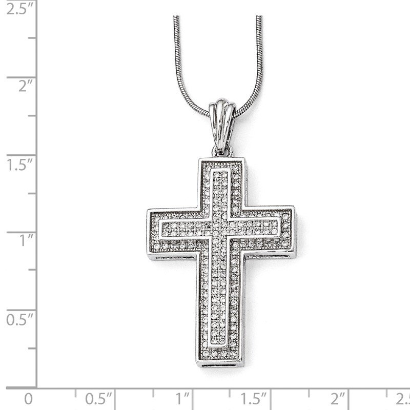 Quality Gold SS Rhodium-Plated CZ Brilliant Embers Polished Cross Necklace