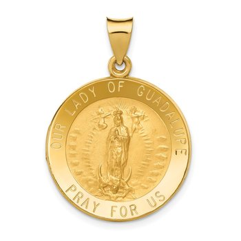 14k Polished/Satin Our Lady of Guadalupe Medal Hollow Pendant