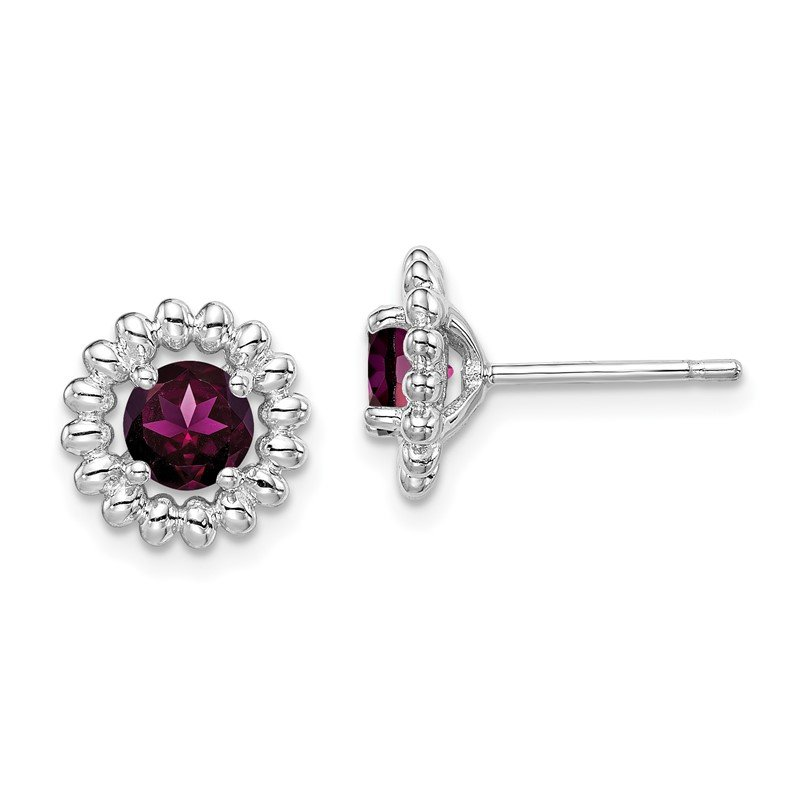 Quality Gold Sterling Silver Rhod-plat Rhodolite Garnet Earrings
