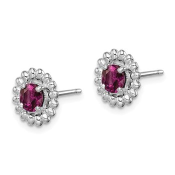 Sterling Silver Rhod-plat Rhodolite Garnet Earrings