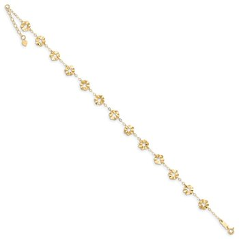 14k Adjustable Flower 9in Plus 1in ext. Anklet
