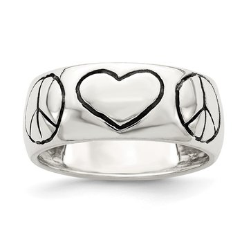Sterling Silver Polished Antiqued Finish Peace Sign with Heart Ring