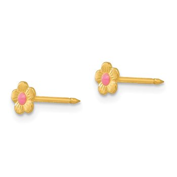 Inverness 14k Epoxy Fill Pink Mini Flower Earrings