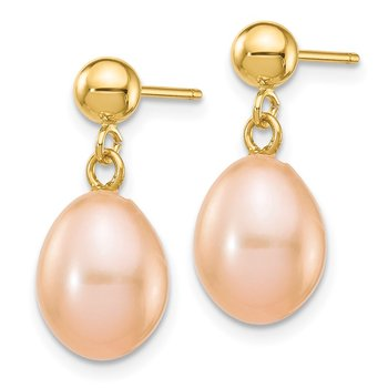 14k 7-8mm Pink Rice Freshwater Cultured Pearl Dangle Post Earrings