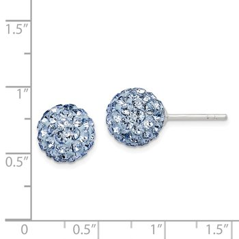 Sterling Silver Post Blue Stellux Crystal Ball Earrings