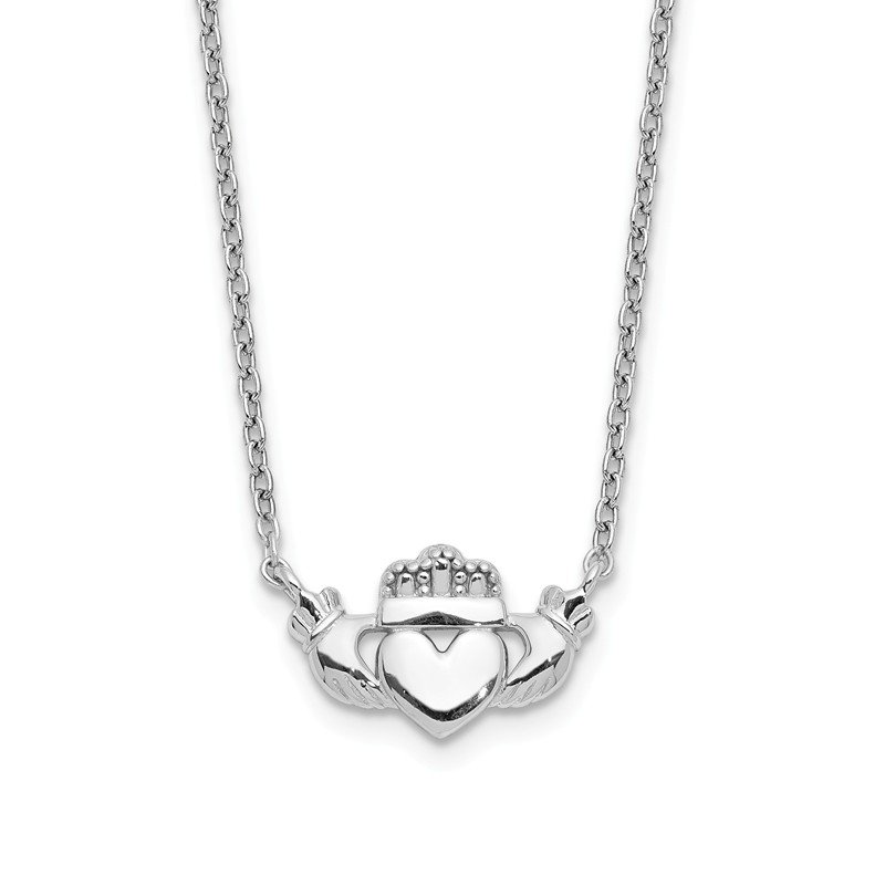 Quality Gold 14k White Gold Polished Claddagh Necklace