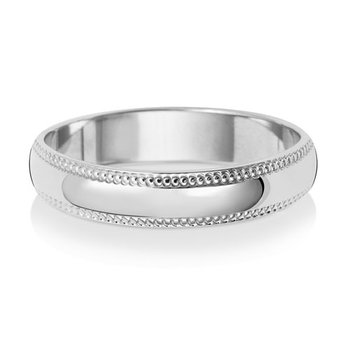 9Ct White Gold 4mm D Shape Millgrain Wedding Ring
