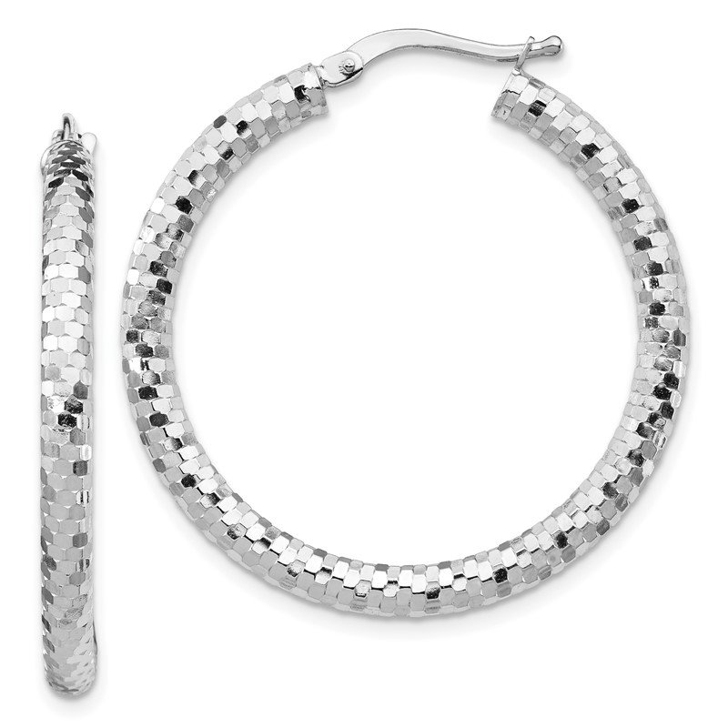 J.F. Kruse Signature Collection 14k White Gold 3x25mm Diamond-cut Hoop Earrings