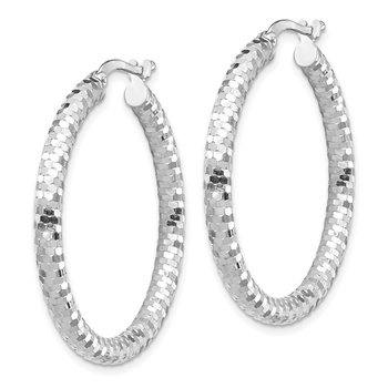 14k White Gold 3x25mm Diamond-cut Hoop Earrings