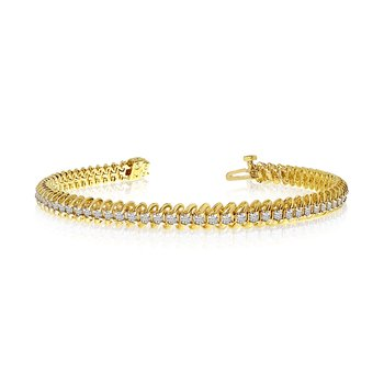 "14K Yellow Gold Soft ""S"" Illusion Diamond Bracelet"