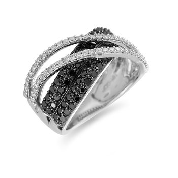 14K WG White and Black Diamond Ring