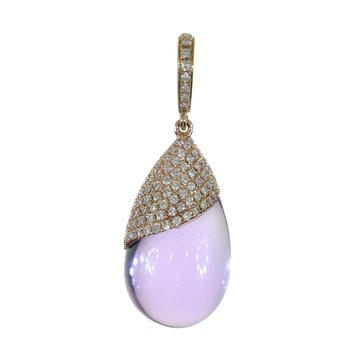 14K Rose Gold Amethyst Pear-Shaped Cabochon and Diamond Pendant