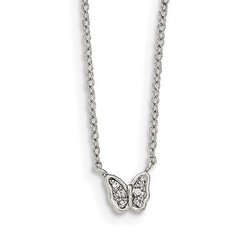 Sterling Silver Polished CZ Butterfly Necklace