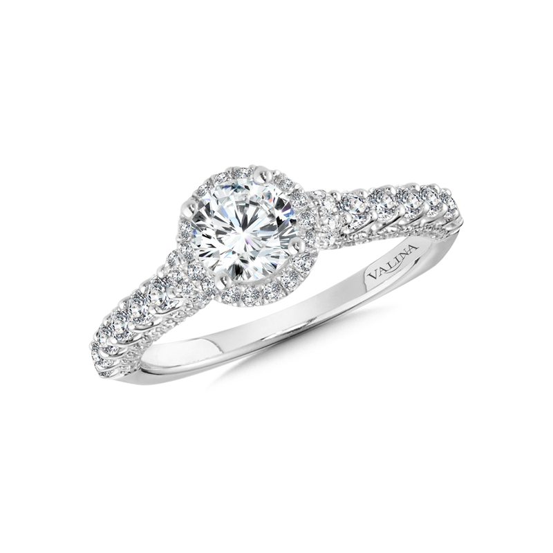 Valina Halo Engagement Ring Mounting in 14K White Gold (.68 ct. tw.)