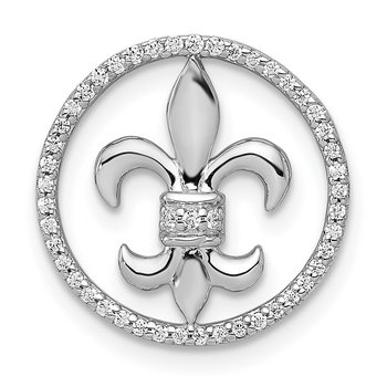 14k White Gold 1/6ct. Diamond Fleur De Lis Chain Slide