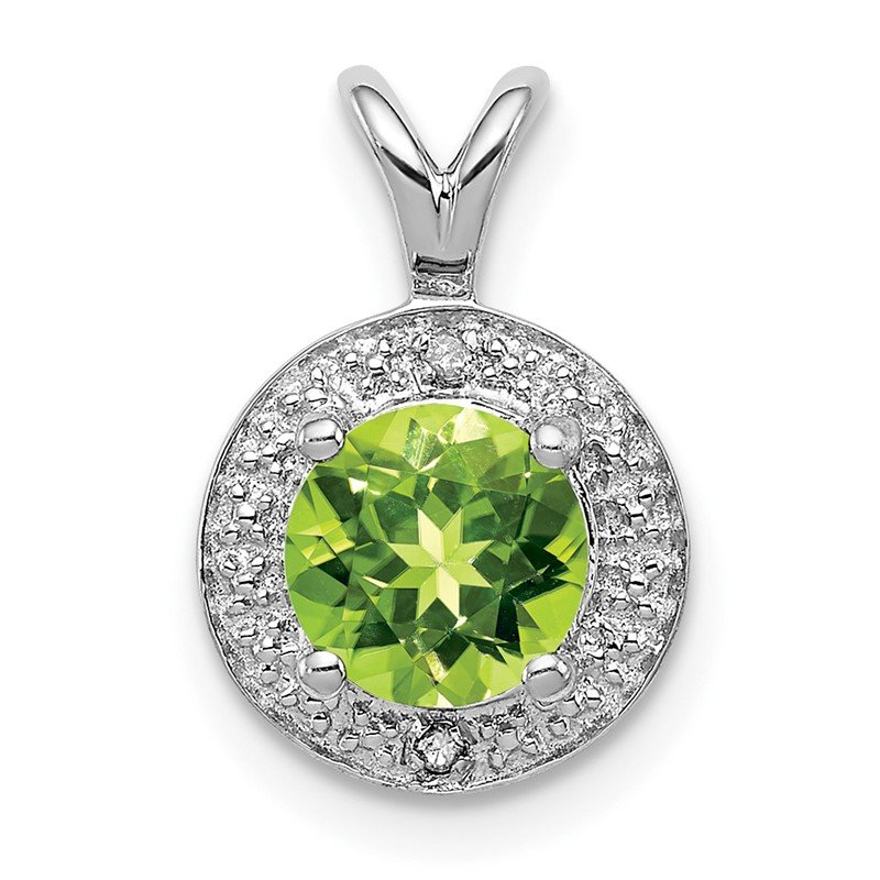 Quality Gold Sterling Silver Rhodium-plated Diam. & Peridot Pendant