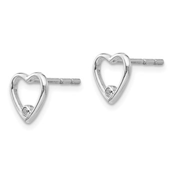 SS White Ice Diamond Heart Post Earrings