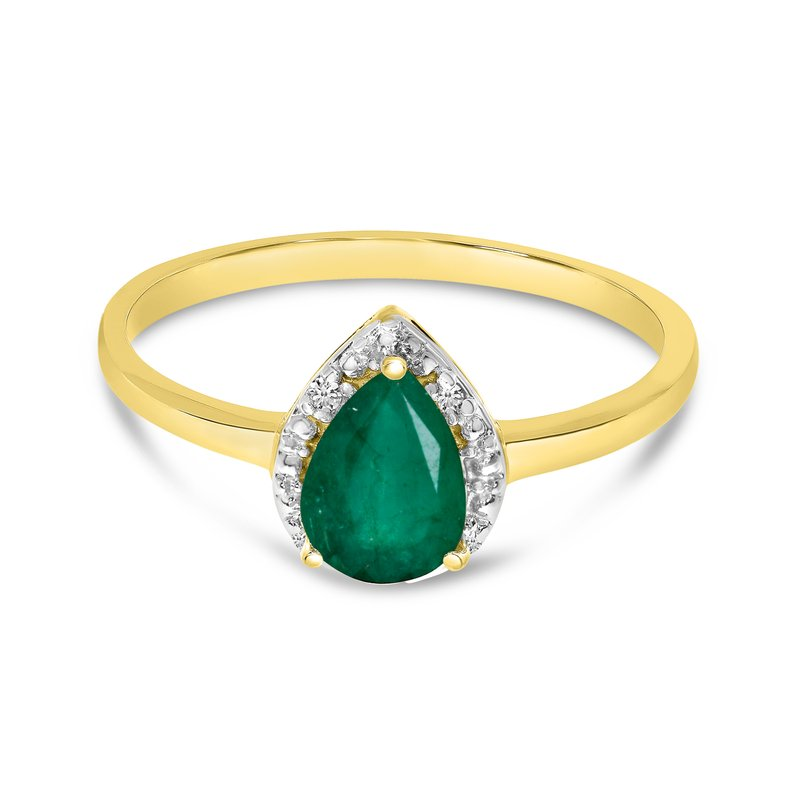 Color Merchants 14k Yellow Gold Pear Emerald And Diamond Ring