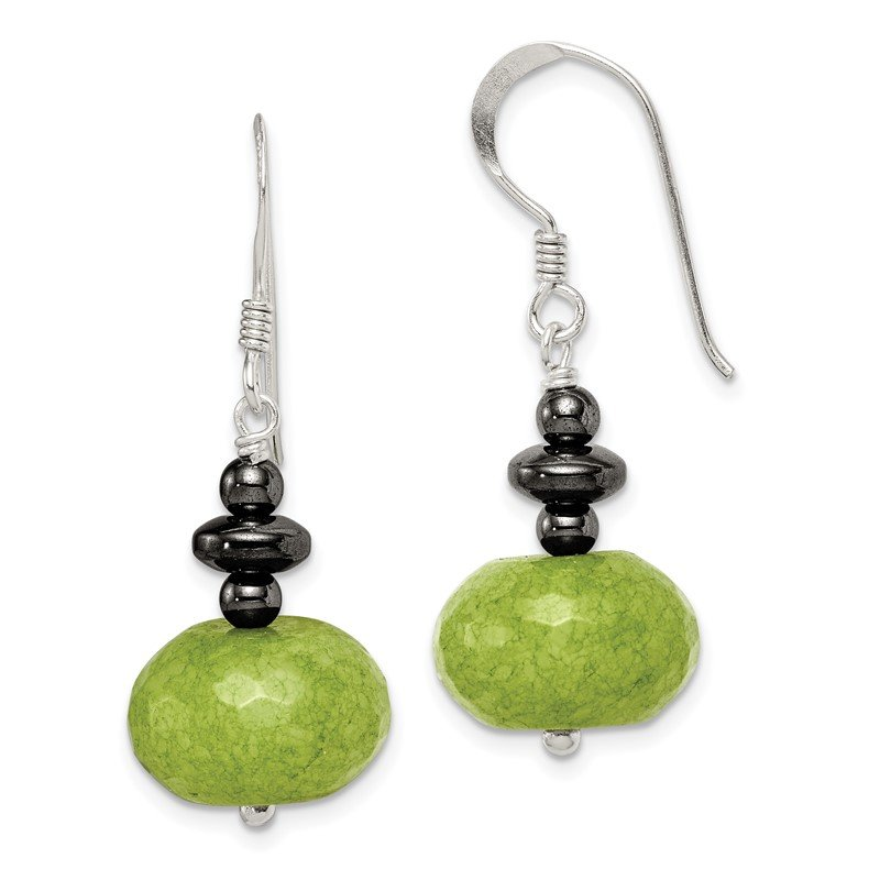 Quality Gold Sterling Silver Green Jade and Hematite Earrings