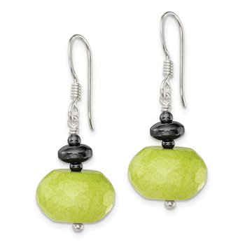 Sterling Silver Green Jade and Hematite Earrings