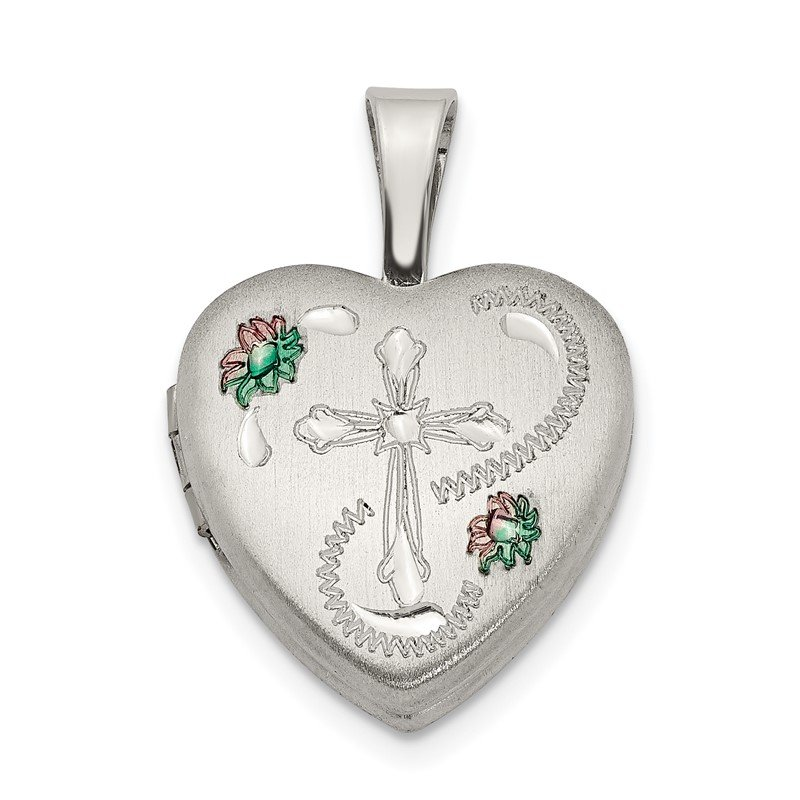 Quality Gold Sterling Silver 12mm Enameled Cross Heart Locket
