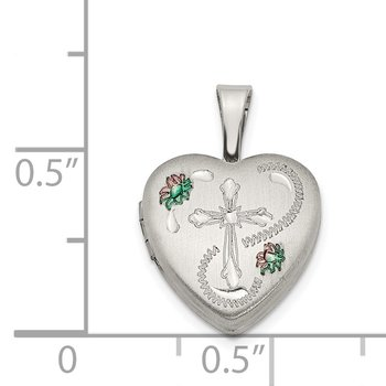 Sterling Silver 12mm Enameled Cross Heart Locket