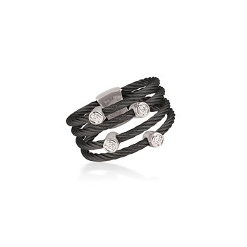 Black Cable Petite Satellite Ring with 18kt White Gold & Diamonds