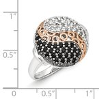 Shey Couture Sterling Silver & Rose Gold-plated Blk Rhodium White Topaz Onyx Ring