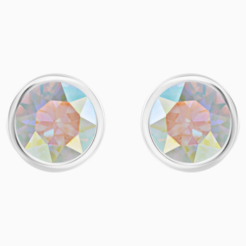 Solitaire Pierced Earrings, Multi-colored, Rhodium plated