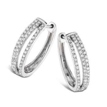 Pave Set set Diamond Triple Hoop Earrings in 14k White Gold (1ct. tw.) JK/I1