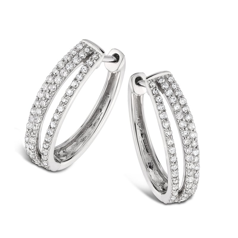 SDC Creations Pave Set set Diamond Triple Hoop Earrings in 14k White Gold (1ct. tw.) JK/I1