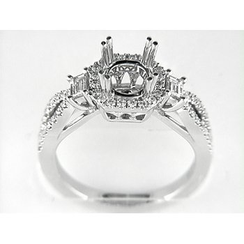14K W RING 54RD 0.31CT 2BG 0.21CT