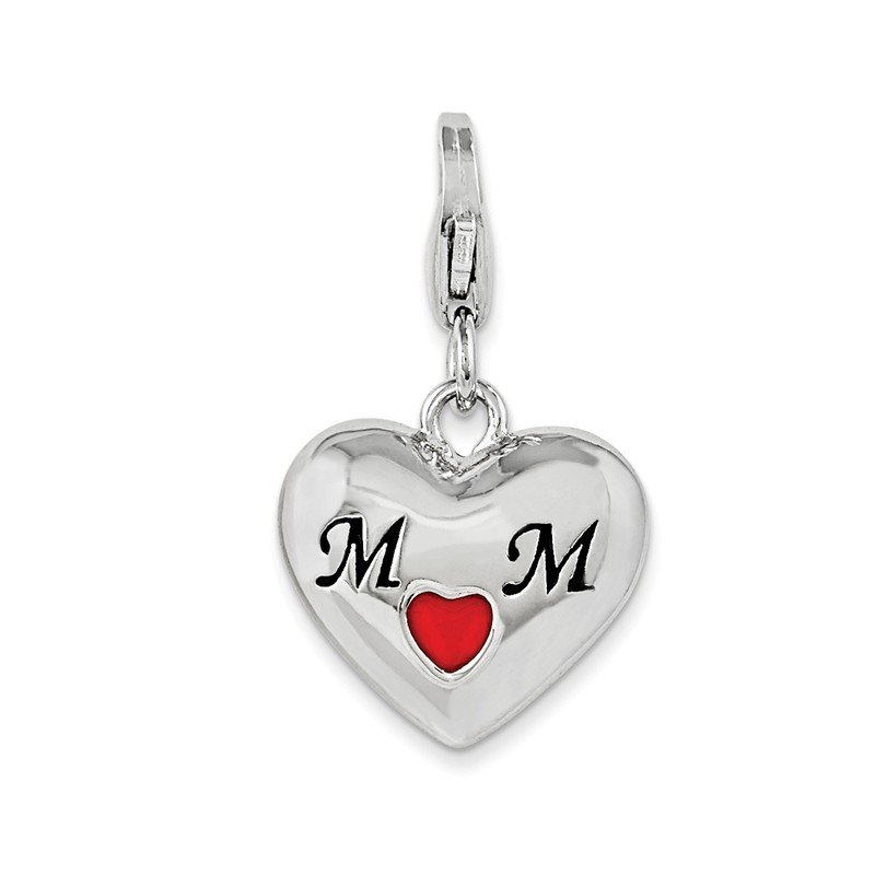 Quality Gold Sterling Silver Enameled Heart Mom w/Lobster Clasp Charm