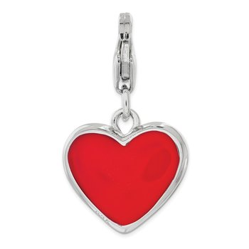 Sterling Silver RH w/Lobster Clasp Enameled Heart Mom Charm