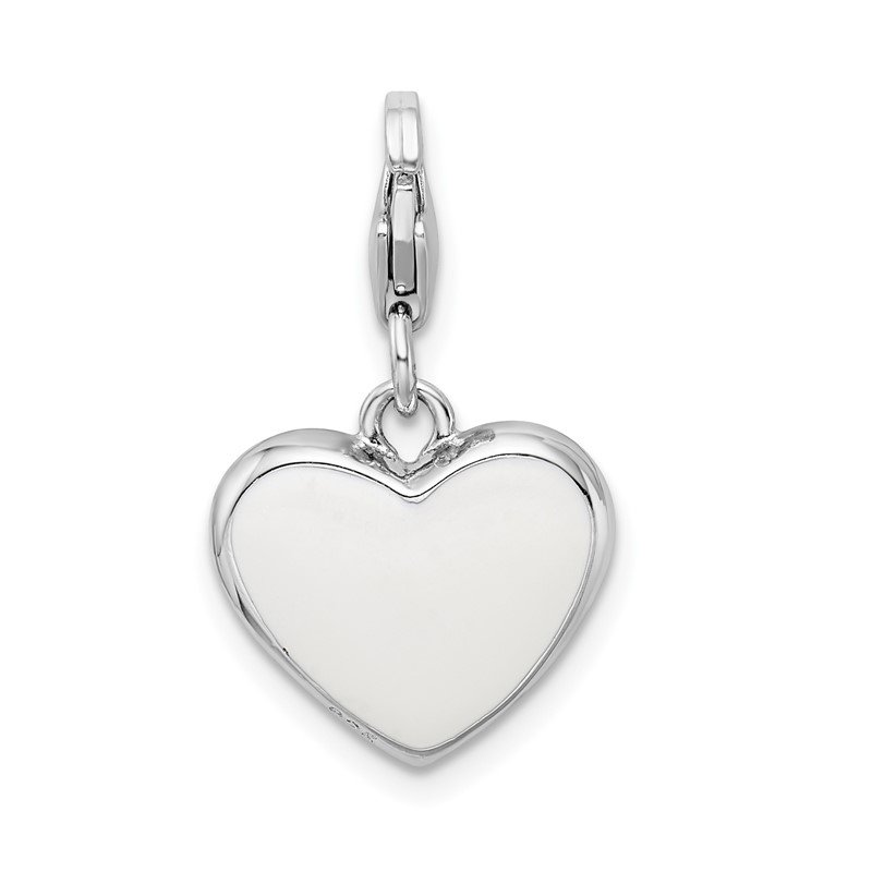 Quality Gold Sterling Silver RH w/Lobster Clasp Enameled Heart Mom Charm