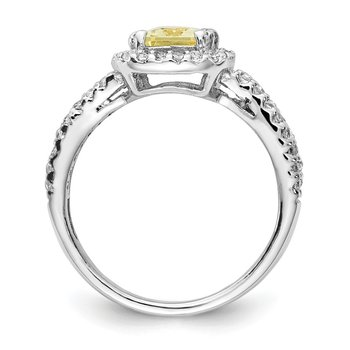 Cheryl M Sterling Silver Rhodium Plated Cushion CZ Canary Square Ring