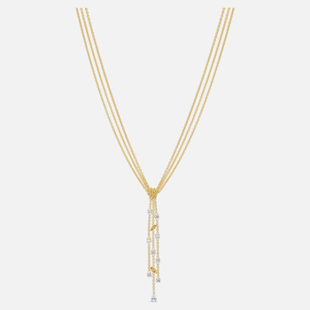 Botanical Y Necklace, White, Gold-tone plated