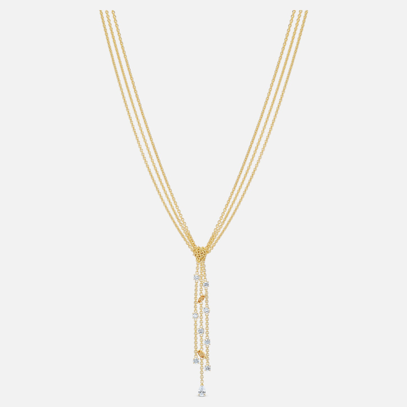 Swarovski Botanical Y Necklace, White, Gold-tone plated