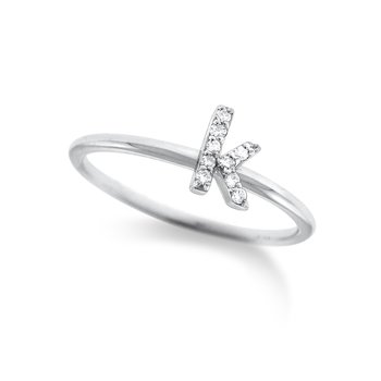 "Diamond Typewriter Initial ""K"" Ring"