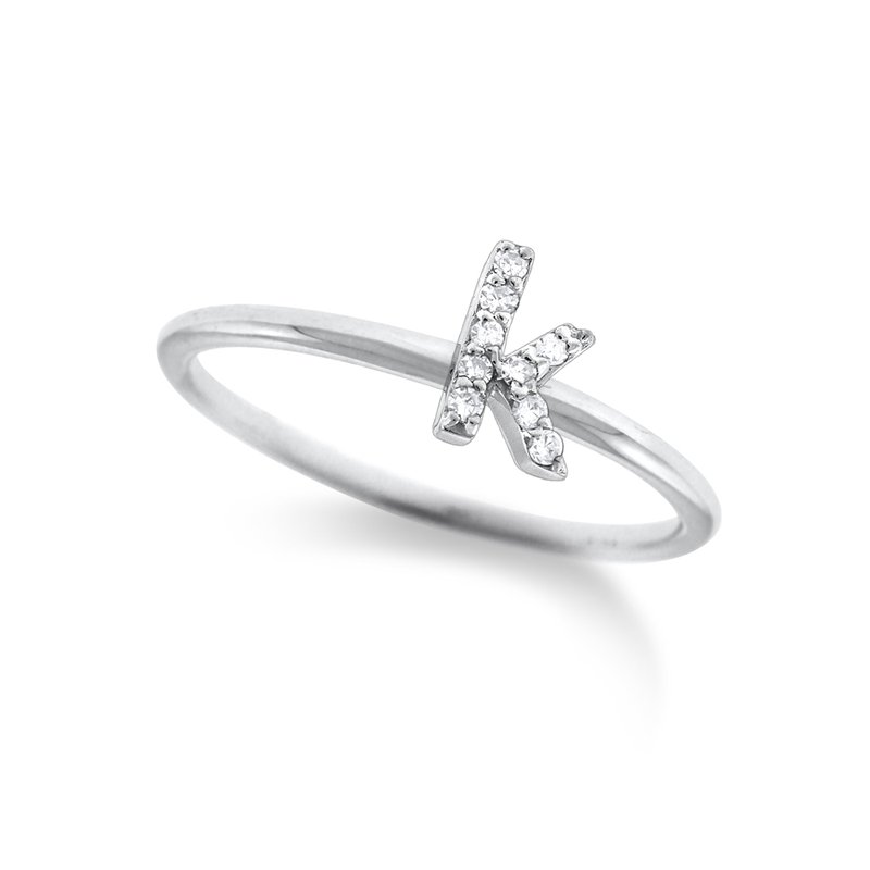 "KC Designs Diamond Typewriter Initial ""K"" Ring"