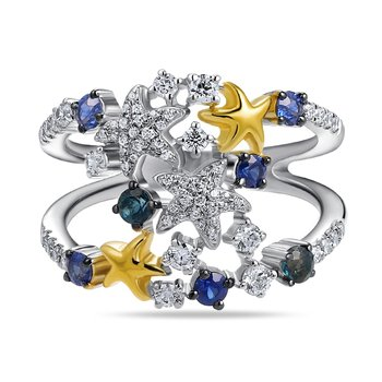 14K colorful ring with 7 sapphires 0.60CT & 63 diamonds 0.44CT