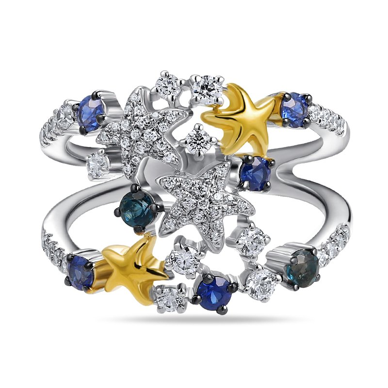 Shula NY 14K colorful ring with 7 sapphires 0.60CT & 63 diamonds 0.44CT