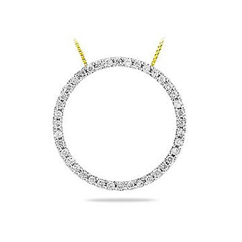 10K YG Diamond Circle Pendant