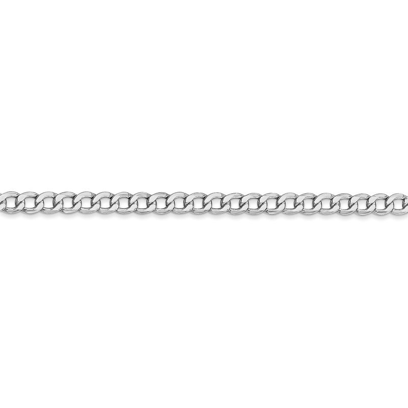 Quality Gold 14k WG 3.35mm Semi-Solid Curb Chain Anklet