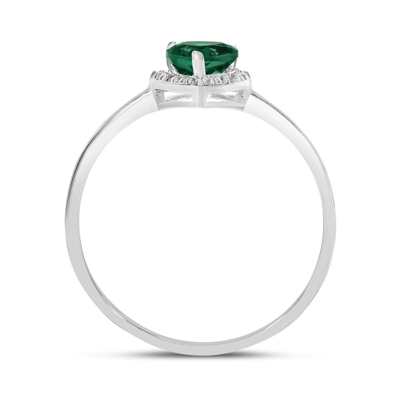 Color Merchants 14k White Gold Pear Emerald And Diamond Ring