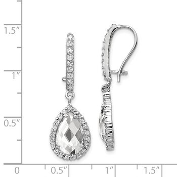 Cheryl M SS Rhodium-plated Checker-cut Pear CZ Kidney Wire Earrings