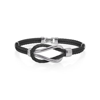 Black Cable Square Knot Bracelet