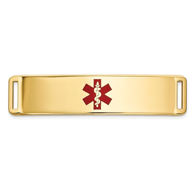 Quality Gold 14K Epoxy Enameled Medical ID Ctr Plate # 820